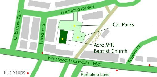 Local map of church location